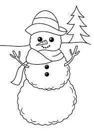 simple snowman figure winter season coloring netart
