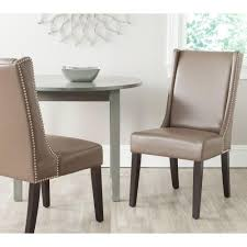 wingback dining room chairs safavieh sher clay bicast leather side chair set of 2 mcr4714b