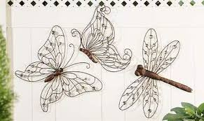outdoor metal wall art with beads insect bug garden wall decor