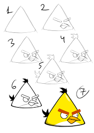draw angry birds step step tutorial pictures