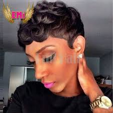 short hairstyle wigs for black women hot sale human hair wigs for black women pixie tight curly human