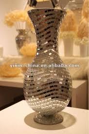 Large Mosaic Vase Grande Hecho A Mano Plateado Espejo De Mosaico De Vidrio Floreros
