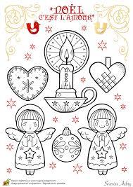 Dessin à colorier de décorations de Noël petits anges et bougies