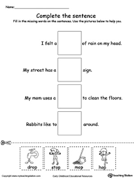 op word family complete the sentence sentences printable