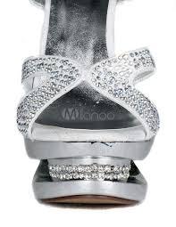 modern silver rhinestone sheepskin high heel women u0027s dress sandals