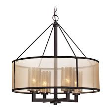 Drum Light Fixture by Drum Pendant Light With Beige Cream Shades In Oil Rubbed Bronze