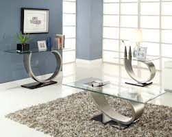 homelegance silvera 3 piece glass coffee table set w brushed sale