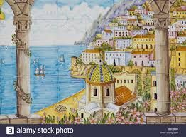 italy campania amalfi coast positano tile picture city view stock