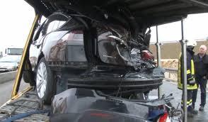 tesla truck tesla transporter struck by semi truck inside evs