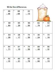 and subtraction regrouping worksheets grades 2 3 ccss halloween theme
