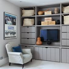 Bedroom Storage Ideas For Small Spaces Grey Storage Wall With Drawers And Tv Cabinet Small Spaces Ideas