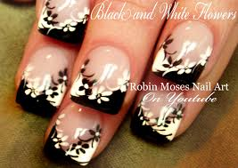 black and white flower nails diy easy daisy nail art design