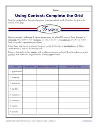 complete the grid context clues worksheets for 5th grade