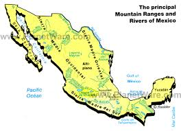 mexico on map map of mexico mountain ranges rivers planetware