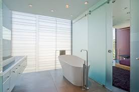 Opaque Glass With Curved Shower Wall Bathroom Traditional And - Floor to ceiling bathroom vanity