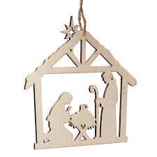 unfinished wood laser cut nativity ornament what s new craft