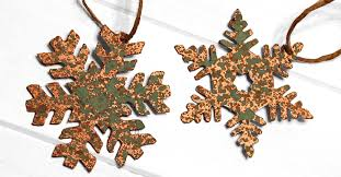 diy faux aged copper snowflake ornaments from a cereal box