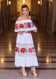 mexican wedding dress multicolor embroidered shoulders mexican dress white gloria