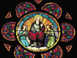 Stained glass window depicting God the Father and angels  Encyclopedia Britannica
