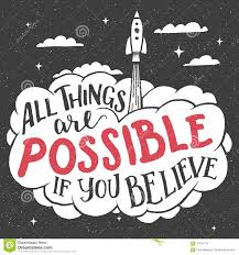 all things are possible if you believe card stock vector image