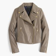 hooded motorcycle jacket j crew collection leather motorcycle jacket in gray lyst