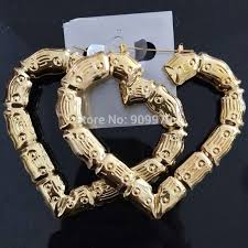 aliexpress buy new arrival fashion shiny gold plated heart bamboo hoop earrings shiny elegent lover gifts fashion