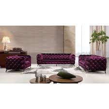 Overstock Living Room Sets Portaleno Modern Purple Fabric Tufted Living Room Set Free