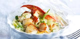 cuisiner noix de st jacques surgel馥s papillote de homard et jacques au chagne facile recette