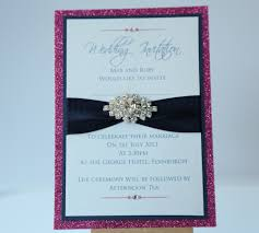 wedding invitations edinburgh pink navy sparkle wedding invitation with brooch