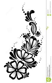 Beautiful Decoration Element Beautiful Floral Element Black And White Flowers Royalty Free