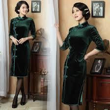 dark purple winter long cheongsam silk velvet chinese dress