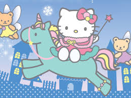 download kitty rides unicorn free faery wallpaper
