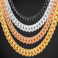 plated necklace chains images U7 6mm miami chain hiphop black silver 18k gold plated necklace jpg