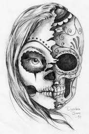black and white half half sugar skull evil design