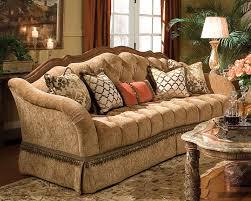 aico wood trim tufted sofa villa valencia ai 72815 green 55