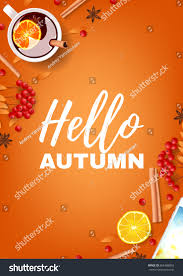 hello autumn beautiful poster top view stock vector 666386803