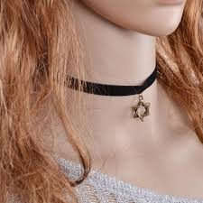 black ribbon choker necklace images Best new gothic style leon adjustable sun moon star pendent black jpg