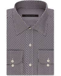 sean john blue and brown houndstooth dress shirt in blue for men