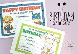 free printable birthday certificates