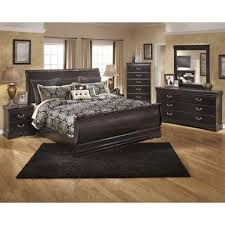 ashley esmarelda 6 piece wood king sleigh bedroom set in merlot