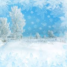 christmas scenery snowflakes snowy trees stock photo
