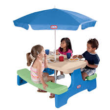 Store Picnic Table With Umbrella Blue Green