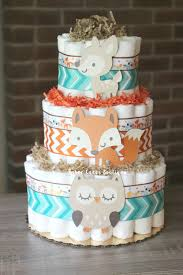 3 tier woodland diaper cake boys woodland baby shower fox