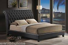 Black Leather Sleigh Bed Leather Sleigh Bed Ebay