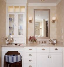dual vanity with makeup counter bathroom traditional with