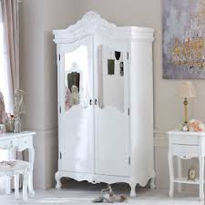white wooden mirrored large wardrobe french shabby chic bedroom