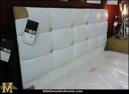 bedroom amusing white faux crystal button tufted leatherette