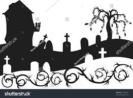 halloween haunted house graveyard illustration no stock vector