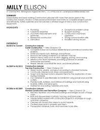Resume Exmples Foxy Sample Laborer Resume Template General Labor Construction