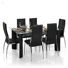 royal oak modern geneva dining set with 6 chairs black best